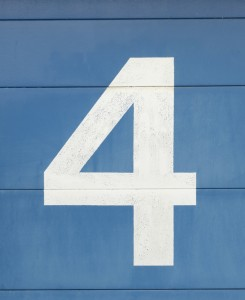 White Number 4 on Blue Background