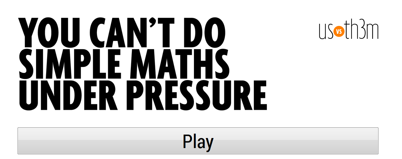 You cant do simple maths under pressure