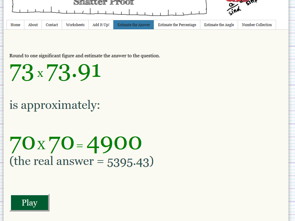 Estimate the Answer game screenshoot