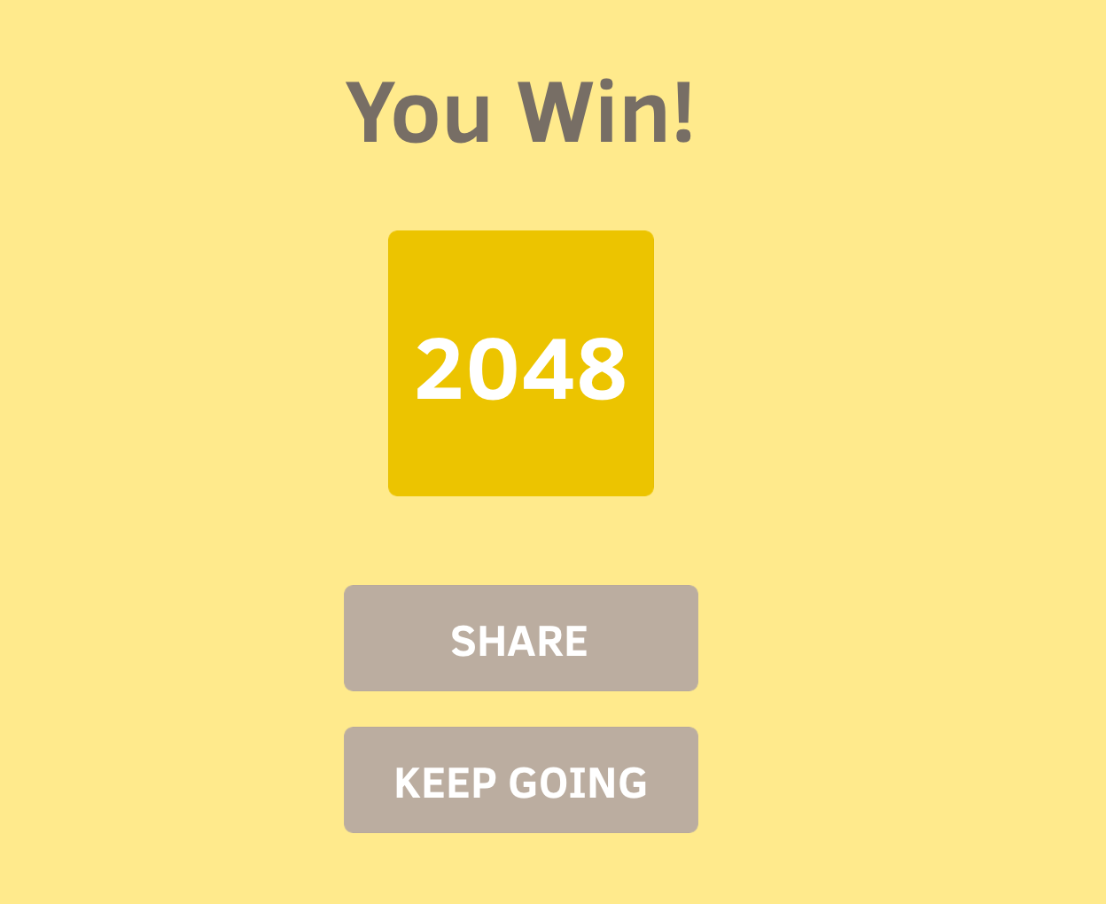 2048 - You Win Screen