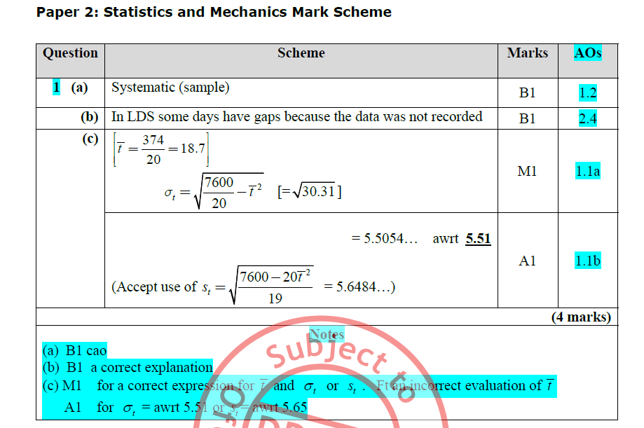 EdExcel large data set sample question answer